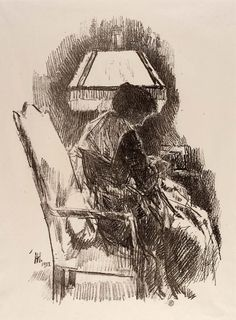 Mrs. Hassam,  ARTIST: Childe Hassam, born Dorchester, MA 1859-died East Hampton, NY 1935 lithograph on paper Graphic Arts-Print 1918