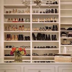 White Clsoet with Built In Shoe and Boot Shelves