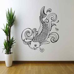 KOI CARP COY FISHING JAPANESE WALL ART WALL STICKER DECAL MURAL STENCIL TRANSFER | eBay