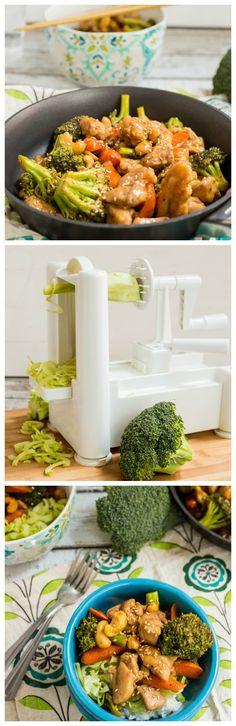 Spicy Cashew Chicken Stir Fry over Broccoli Noodles #WeekdaySupper #McSkilletSauce