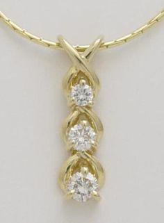 Three stone diamond necklace with a carat total weight. Jewelry Box, Jewelry Accessories, Jewelry Necklaces, Jewelry Design, Jewelry Making, Beaded Bracelets, Diamond Necklaces, Diamond Pendant, Diamond Jewelry