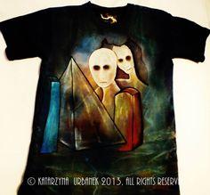 "T-shirt ""Dimensional Collision""-malowany ręcznie © Katarzyna Urbanek , All rights reserved https://www.facebook.com/lunarisart"