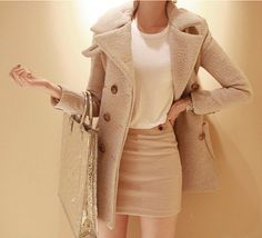 Woolen cape beige wool coat cashmere winter coat autumn outerwear women jacket  BJ42,s,m,l,xl