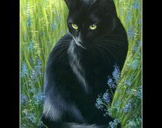 Items similar to Black Cat Print In Amber Eyes by Irina Garmashova on Etsy