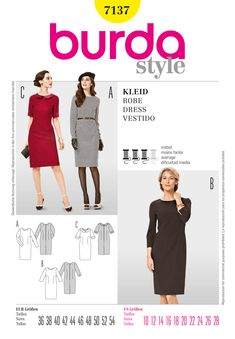 Simplicity Creative Group - Burda Style Dress  7137 -- peter pan collar and elbow sleeves -- imagine in a great print?