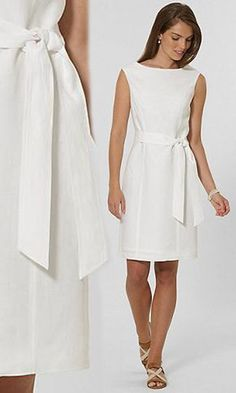 brooks bros petitel white linen dress
