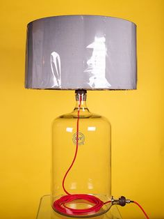 Clear Glass Table Lamp - Laboratory Bottle - Upcycled (vintage retro style)