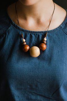 Vintage wood bead necklace, unique large chunky beads / nutmegan on Etsy, $25.00