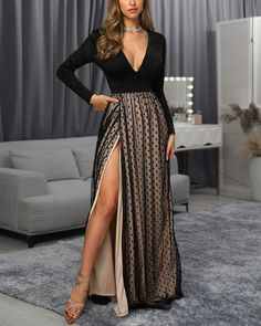 Shop Sexy Trending Maxi Dresses – Boutiquefeel offers the best women's fashion Maxi Dresses deals Maxi Dress With Slit, Ruched Dress, The Dress, Bodycon Dress, Trend Fashion, Ideias Fashion, Evening Dresses, Clothes For Women, Outfits