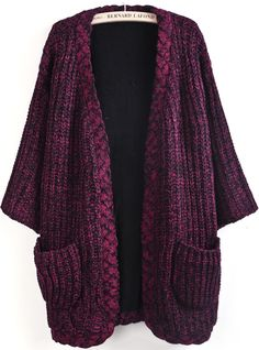 Wine Red Long Sleeve Pockets Knit Cardigan US$45.90