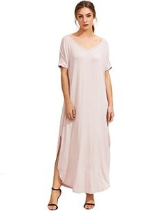 MakeMeChic Womens Casual Loose Pocket Long Dress Short Sleeve Split Maxi Dress Light Rose M *** Read more reviews of the product by visiting the link on the image.