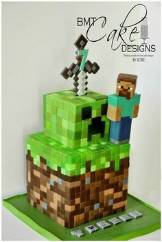 2015 minecraft creeper and sword cake - steve, Halloween Minecraft Party, Minecraft Birthday Cake, Minecraft Sword, Cake Minecraft, Minecraft Cake Toppers, Minecraft Cookies, 8th Birthday, Birthday Parties, Birthday Ideas