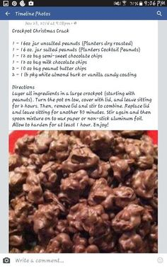 Crockpot Christmas Crack (Couldn't be easier to make, and it makes a ton. Like the peanut butter chip add Crockpot Christmas Crack (Couldn't be easier to make, and it makes a ton. Like the peanut butter chip addition in this version. Candy Recipes, Holiday Recipes, Baking Recipes, Dessert Recipes, Caramel Recipes, Christmas Recipes, Christmas Ideas, Crock Pot Desserts, Delicious Desserts