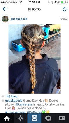 Oregon Ducks Softball Hair Game Day Hair