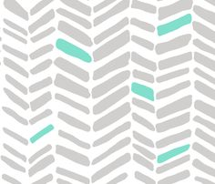 Fossils Gray/Mint fabric by leanne on Spoonflower - custom fabric
