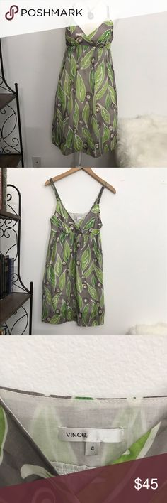 Vince WaterColor Green Leaf Silk/Cotton sundress NWOT, Super cute, casual and stylish silk/ cotton short sundress by Vince. Never used or worn. With side hidden pockets Fully lined Approximate measurements: Total length Orange Bodycon Dress, Short Sundress, Linen Shirt Dress, Grey Bridesmaid Dresses, Sexy Party Dress, Women's Summer Fashion, Cotton Shorts, Smoke Free, Fashion Design