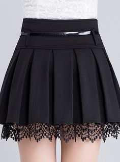 Women's Fashion Belt Waist Lace Trim A-Line Plain Pleated Mini Skirt Damenmode Gürtel Taille Lace Trim A-Line Plain Plissee Minirock – Skirt Outfits, Dress Skirt, Lace Skirt, Lace Maxi, Lace Ruffle, Skirt Pants, Waist Skirt, Fashion Belts, Fashion Dresses