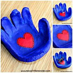 Salt dough handprint bowl keepsake. Simple instructions to make a hand shaped salt dough dish for rings, cufflinks or keys. Simpler than clay and a perfect kid made gift idea for mothers day, fathers day, valentines day or christmas.