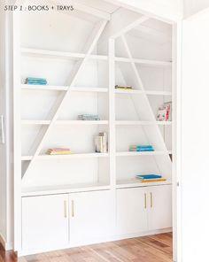 Emily Henderson Pink Shelf Styling Step 1