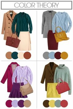 Fall color palette pairings colour combinations fashion, color blocking fashion, color combinations for clothes Colour Combinations Fashion, Color Combinations For Clothes, Fashion Colours, Colorful Fashion, Color Combos, Color Wheel Fashion, Color Schemes, Mode Outfits, Fashion Outfits