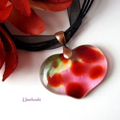 Mottled Red and Clear Fused Glass Heart Pendant, Hints of Green - Pink | Umeboshi - Jewelry on ArtFire