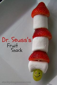 Seuss activities: Grinch in a hat fruit snack! Put the ingredients in bowls and have students make their own snack on Dr. Dr Seuss Crafts, Preschool Crafts, Crafts For Kids, Dr Seuss Week, Dr Suess, Dr Seuss Activities, Dr Seuss Snacks, Fruit Sticks, Dr Seuss Birthday