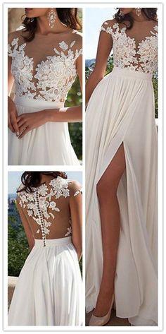 Ivory Lace Beach Wedding Dresses,Front Slit See Through Wedding Dress,Cap Sleeves Wedding Gowns,High Quality Bridal Wedding Dress,Custom Made Wedding Dresses
