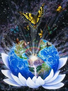 butterfly-and-earth-in-lotus-flower