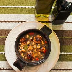 Lucky Black-Eyed Pea Soup Recipe with Chicken-Garlic Sausage and Bell Peppers from Kalyn's Kitchen  #LowGlycemicRecipe