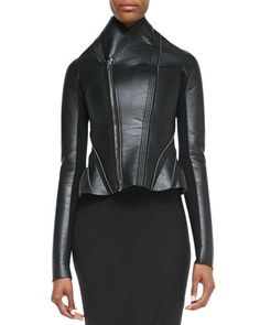 Asymmetric Leather/Ponte Flared Jacket by Rick Owens Lilies at Neiman Marcus.