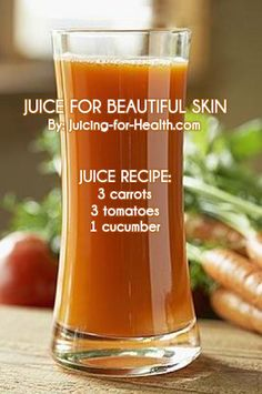 JUICE FOR BEAUTIFUL SKIN: This juice combo has all the necessary ingredients for improving your skin's texture and elasticity. Lycopene in tomatoes is said to improve the skin's ability to protect against harmful UV rays. The high quality vitamin A, C and phytonutrients in carrot and cucumber juice efficiently nourish the skin, preventing dry skin, skin diseases and other skin blemishe