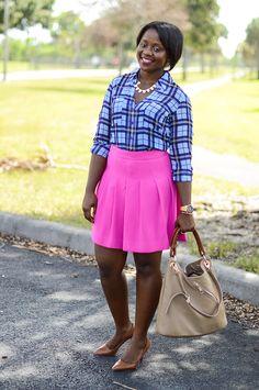 Pink Sole: Express Large (Blue) Plaid Portofino shirt + hot pink skirt