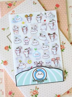 Budding Pop Stickers 6pc cute cartoon planner journal scrapbooking diary sticker