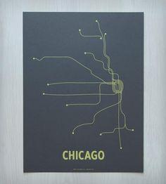 Chicago Transit Screen Print - Dark Gray | Art Prints | Line Posters | Scoutmob Shoppe | Product Detail