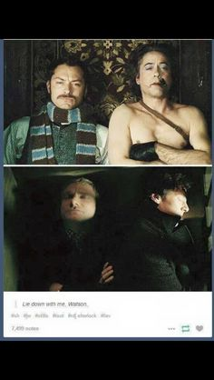 Holmes and Watson, Sherlock and John... I love how John is jn army mode not taking up any space straight as a line and Sherlock just wants someone to lean on and almost in his thinking position