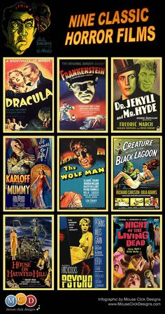Classic Horror Films - austinBLU this would make a great 12hour movie marathon popcorn not included
