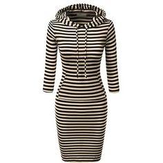 Rotita Long Sleeve Stripe Print Bodycon Dress