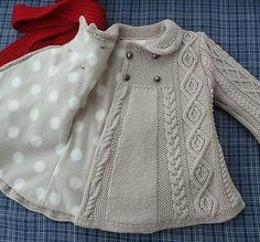 japanese knitting girl coat jacket cables - Turkish site but no pattern. link no longer works :( Baby Knitting Patterns, Knitting For Kids, Crochet For Kids, Baby Patterns, Hand Knitting, Knit Crochet, Crochet Blouse, Clothes Patterns, Knitting Needles