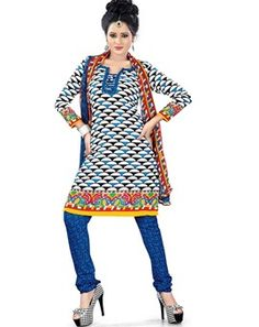 #Blissful #White & Blue Colored Printed #Dress Material
