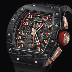 Great post re Grosjean's RM 011 on Monochrome watch recently; The RM 011 Lotus F1 Team-Romain Grosjean automatic flyback chronograph movement in the colors of the British racing team. The case is made of NTPT carbon, a new, light and ultra strong material exclusive to Richard Mille. ️ timeandtidewatches.com timetide horology sartorial instawatch watchtuneup wristporn watchesofinstagram watchoftheday watchdaily storydwellers watchcrush watchfam richardmille