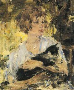 Tuppy with Cat - Nicolai Fechin (Russian/American, 1881-1955) Impressionism