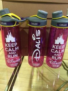 This listing is for one Keep Calm And Run Disney decal (6 x 2.75) AND one custom name decal (6 x 1.5) made with high quality, commercial