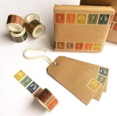 Signature Stamp, Japanese Paper, Paper Tape, Jute Twine, Design Process, Washi Tape, Postage Stamps, Rainbow Colors, Etsy Vintage