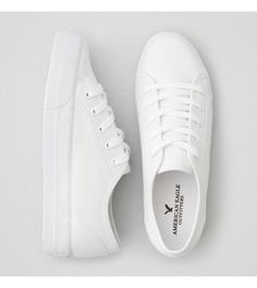 White AEO Lace Up Platform Sneaker $30