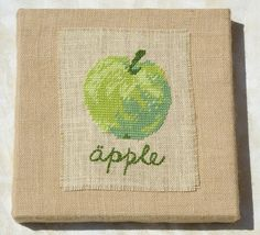 Apple Wall Art PDF Pattern, Green, Half Cross Stitch on Burlap/Hessian. $3.00, via Etsy.