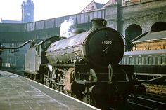 61279 Thompson Class taking on water.A colour-rail © slide taken at the NE corner of the long gone Nottingham Victoria Station in July 1963 Photo via Fotorus Live Steam Locomotive, Diesel Locomotive, Transport Images, Old Train Station, Steam Railway, Old Trains, British Rail, Train Pictures, Train Car