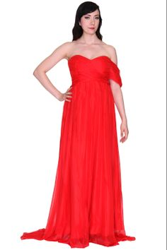 """""""Diva"""" Sexy Red One Off Shoulder Maxi Long Ball Gown Evening Dress"""
