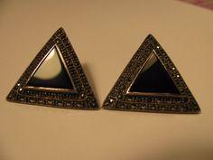 Judith Jack Earrings Sterling Silver, Vintage Marcasite & onix Earrings in Jewelry & Watches, Vintage & Antique Jewelry, Fine | eBay