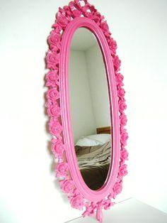 Vintage Mirror Pink Shabby Chic Girls Room Bright Boho Upcycled Eco Friendly Ornate Roses Bow. $50.00, via Etsy.