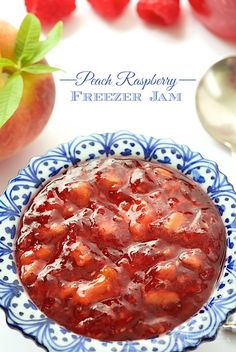 Peach Raspberry Freezer Jam-Take 30 minutes (yes, you read that right!) to throw together a batch of this yummy freezer jam! Just imagine the possibilities!